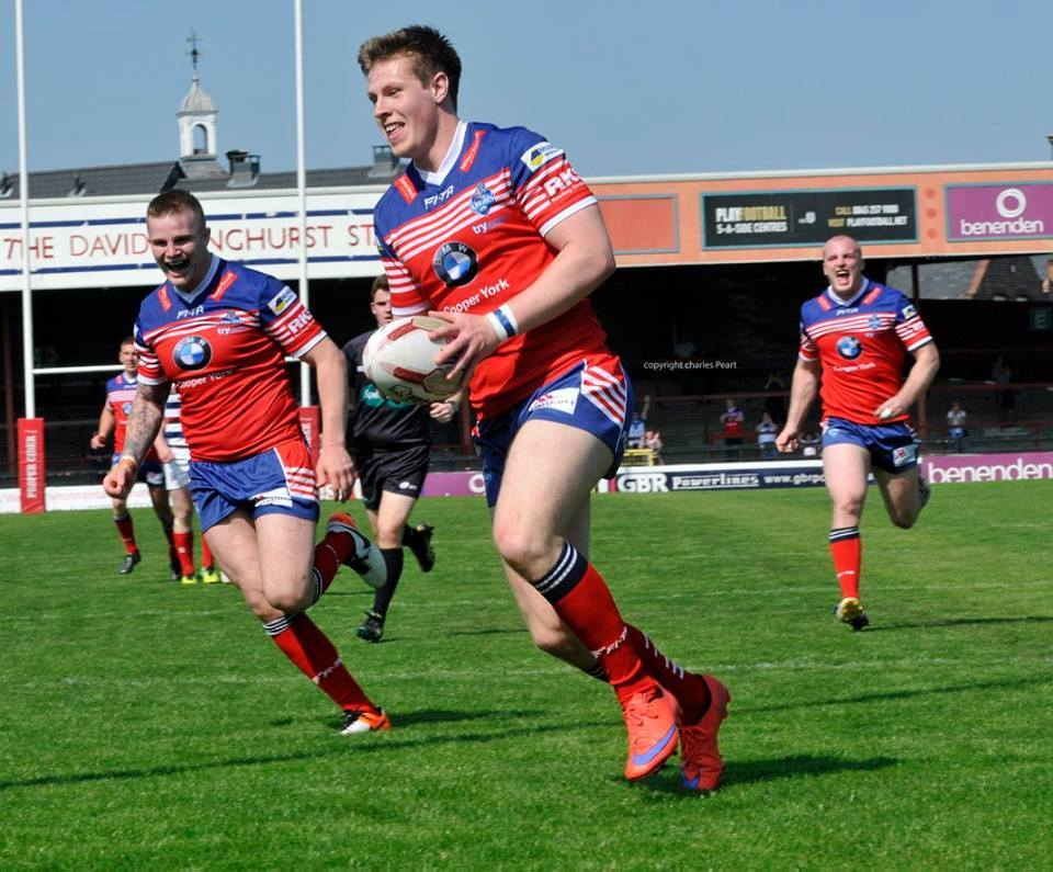 Ben Dent, pictured scoring for York City Knights against Rochdale in 2016, is in the Newcastle Thunder squad that comes to Bootham Crescent on Sunday