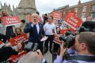 Selby MP Nigel Adams with Boris Johnson in Selby, on the referendum campaign trail