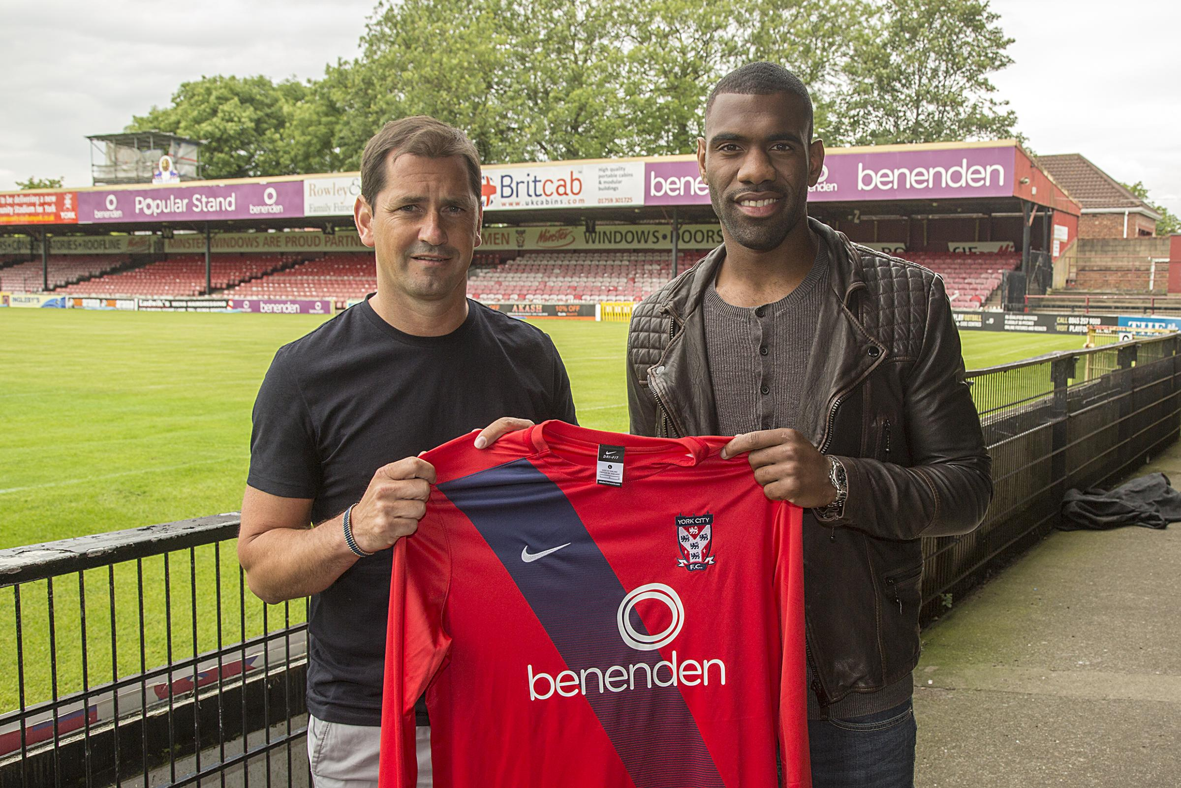 DAN'S THE MAN: Worcester City winger Daniel Nti is welcomed to York City by manager Jackie McNamara. Picture: Mark Comer