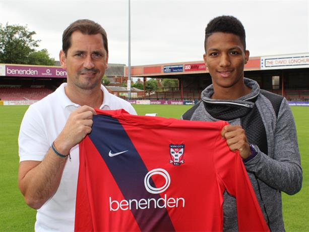 NEW ARRIVAL: Kaine Felix is welcomed to York City by manager Jackie McNamara