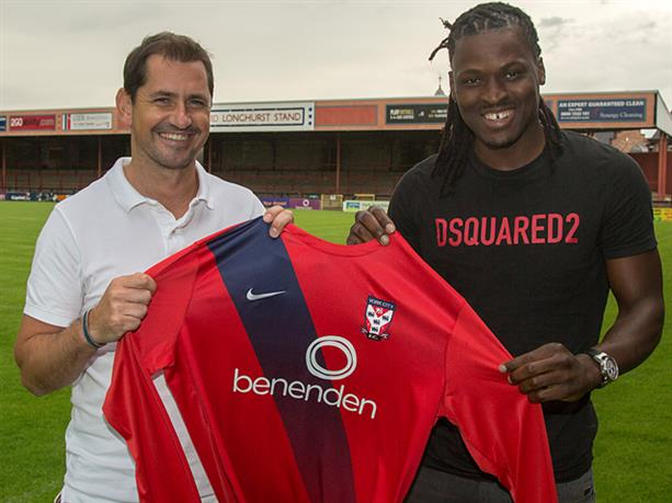 LATEST ADDITION: Former Forest Green midfielder Clovis Kamdjo is welcomed to York City by manager Jackie McNamara