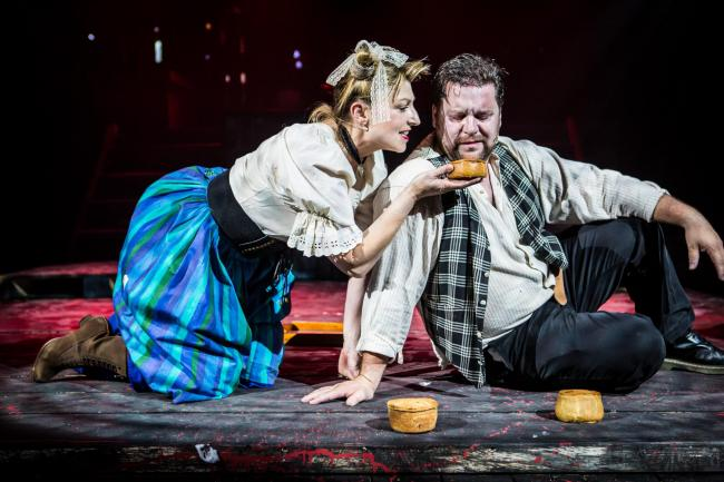 Meat their destiny: Susannah Baines's Mrs Lovett and Nick Lewis's Sweeney Todd try out her fleshly-cooked pies