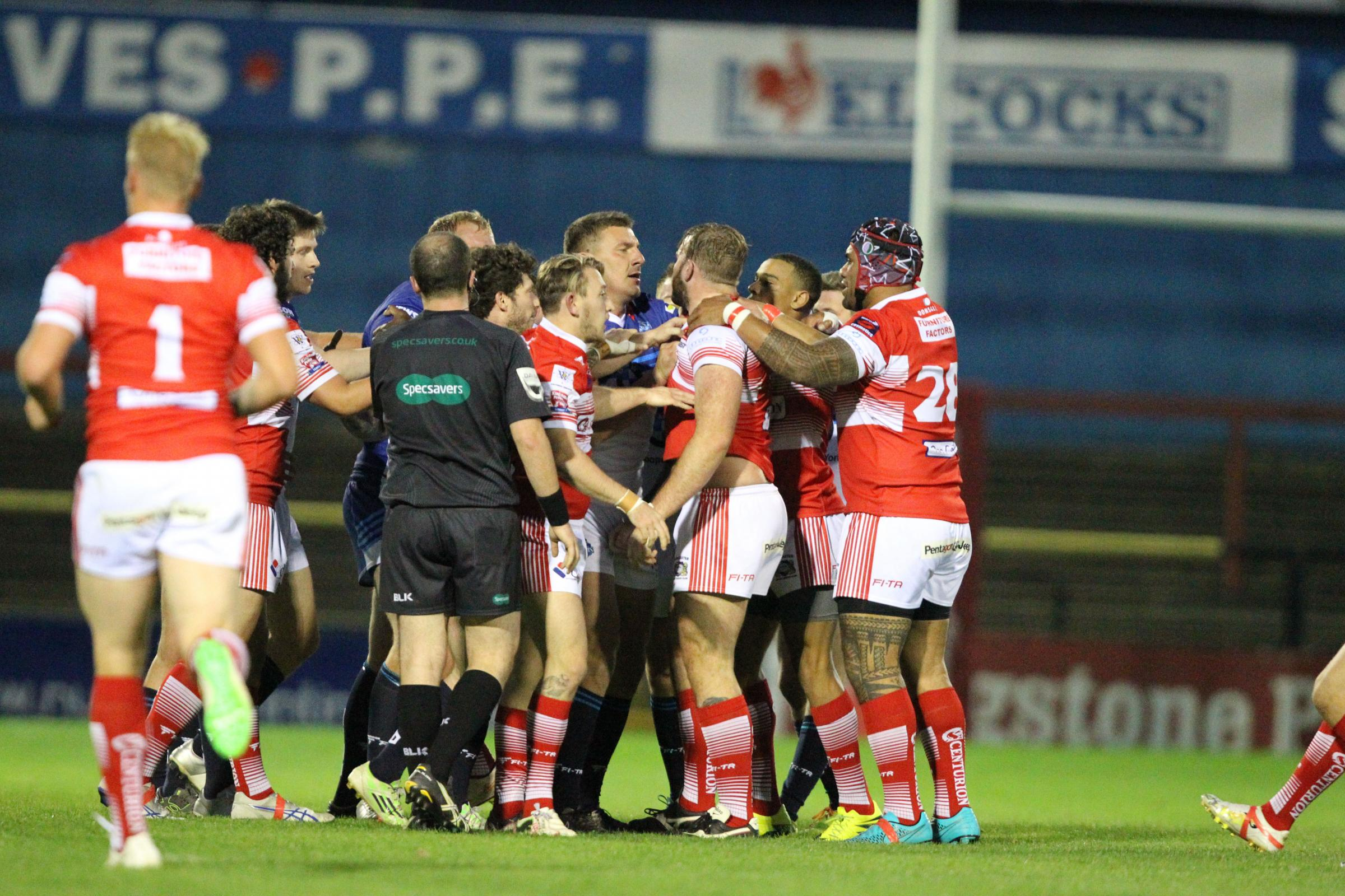 A little bit of argy-bargy suggests York City Knights weren't taking it easy against Doncaster on Thursday night, no matter whether the defeat leads to a preferable run in the play-offs or not. Picture: Gordon Clayton