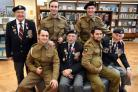 Normandy veterans (left to right) Bert Barritt (correct),George meredith and ken Smith meet actors (rear left to right)Sam McAvoy and Jack Chamberlain and (front left to right) Jack Fielding and Angus Fox at York Explore.Pic Nigel Holland