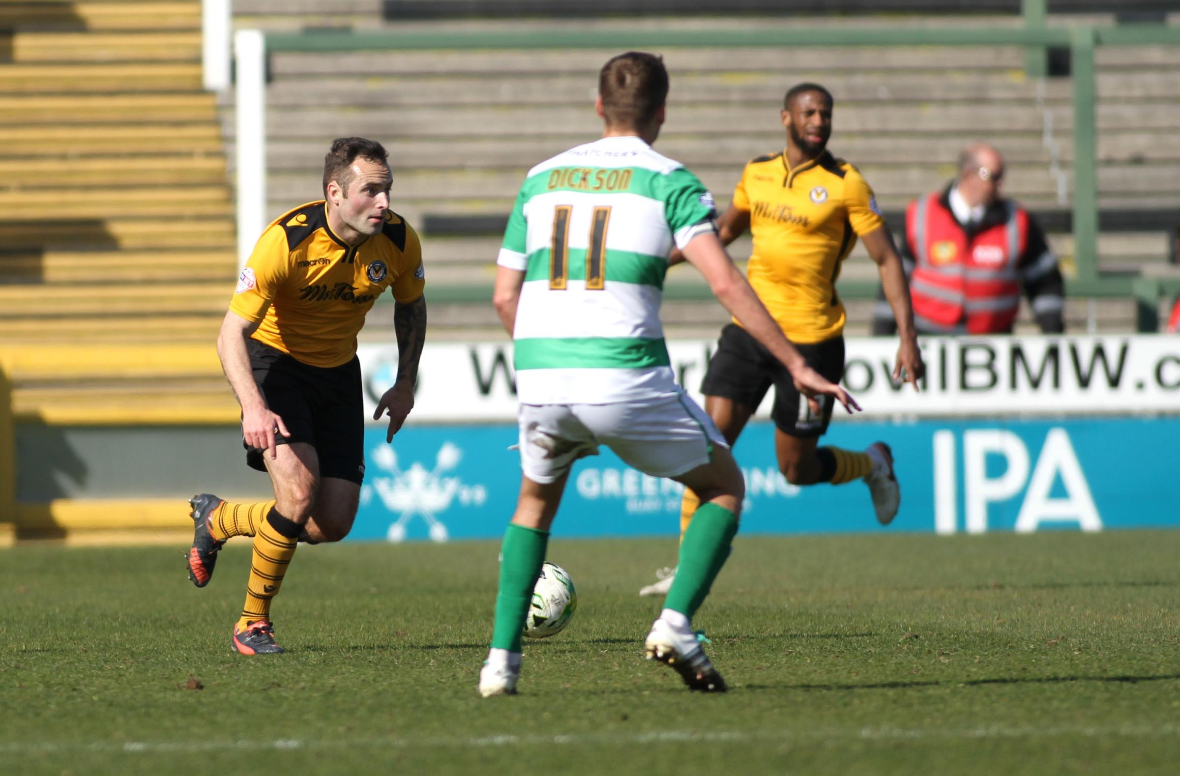 Danny Holmes, playing for Newport County