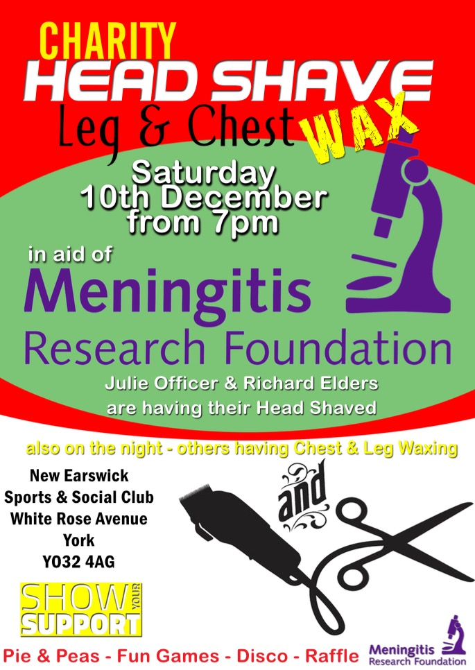 Charity Head Shave and Chest Wax Night in Aid of Meningitis