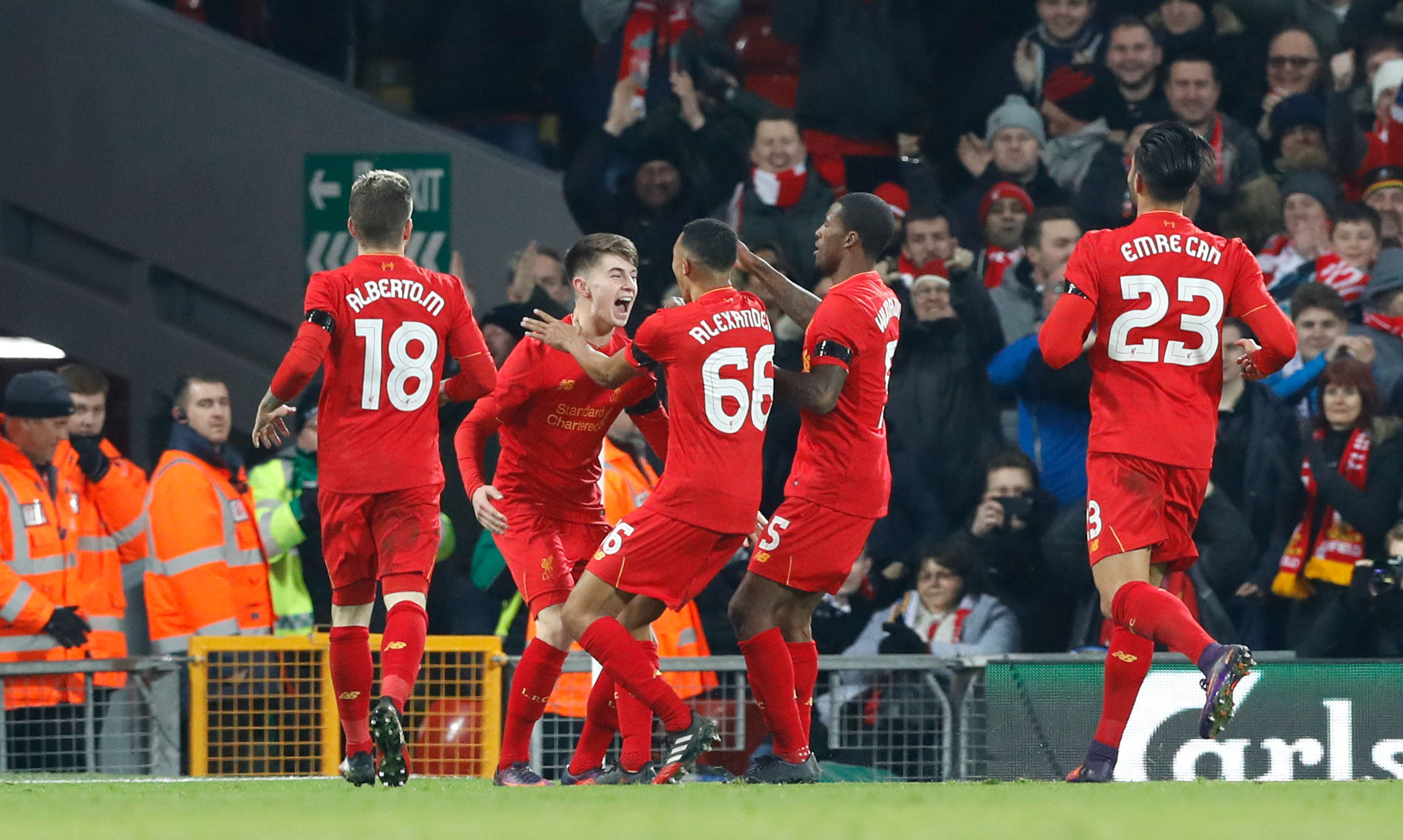 Liverpool's Ben Woodburn celebrates scoring his side's second goal during their EFL Cup victory over Leeds