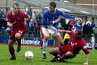 PARKIN'S JUST THE TICKET: Darren Dunning (left) is backing former friend and foe Jon Parkin, pictured right playing for Macclesfield against York City, to be a great asset on his return to Bootham Crescent