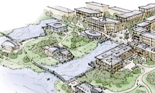 An artist's idea of  how the new University of York campus will look