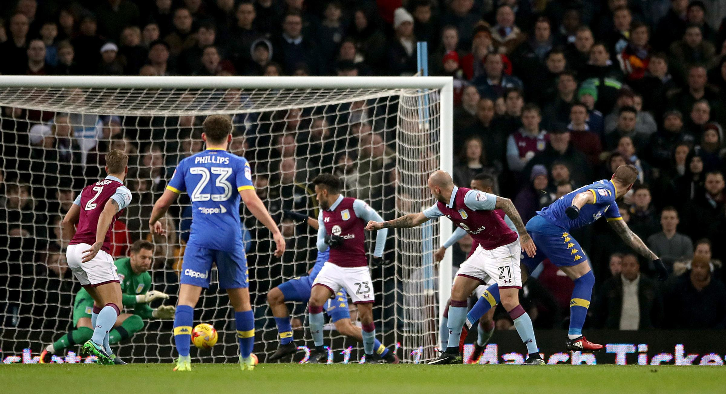Pontus Jansson heads Leeds United in front at Aston Villa but the hosts equalised with a late penalty – Picture: Nick Potts/PA Wire