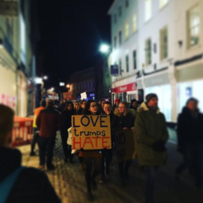 Protesters marching through York city centre tonight
