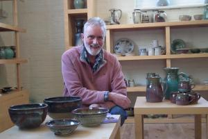 Gerry Grant in the Fangfoss Pottery showroom