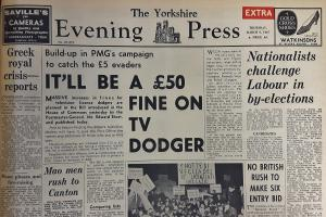 The front page of the Yorkshire Evening Press from March 9, 1967