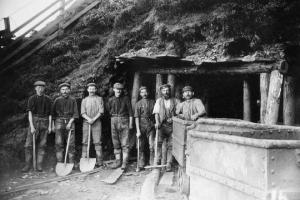 Ironstone miners at a mine entrance in about 1900. Photo: Rosedale Local History Society