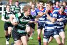 Will Fordy surges forward for York RUFC Colts supported by Alistair Bradford. Picture: Rob Long.