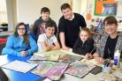 Artist Griselda Goldsbrough with Danesgate pupils Demi Scaife,Freddie Vardy, Ethan Power,Matthew Kirby and Katie Franks. Picture: Nigel Holland