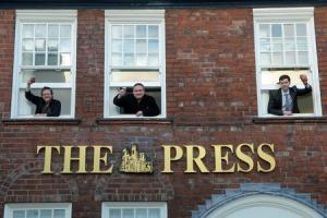 FLASHBACK: Backing for The Press' pubs campaign (from left) licensee Paul Crossman, Nick Love of York CAMRA and reporter Alex Ross                                                                                        Picture: Mike Tipping