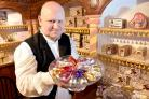 Naughty but Mice: Simon Bartle with a plate of sugar mice in Kirkgate's 'new' Victorian confectioner GE Barton