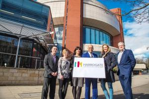 From lefGraham Holman, Kirsten Rolph, Roxanna Malik, and Brian Dobson from newly-named Harrogate Convention Centre, with Amanda Haywood-Poole, of Extreme Creations and Simon Kent, director of Harrogate Convention Centre.