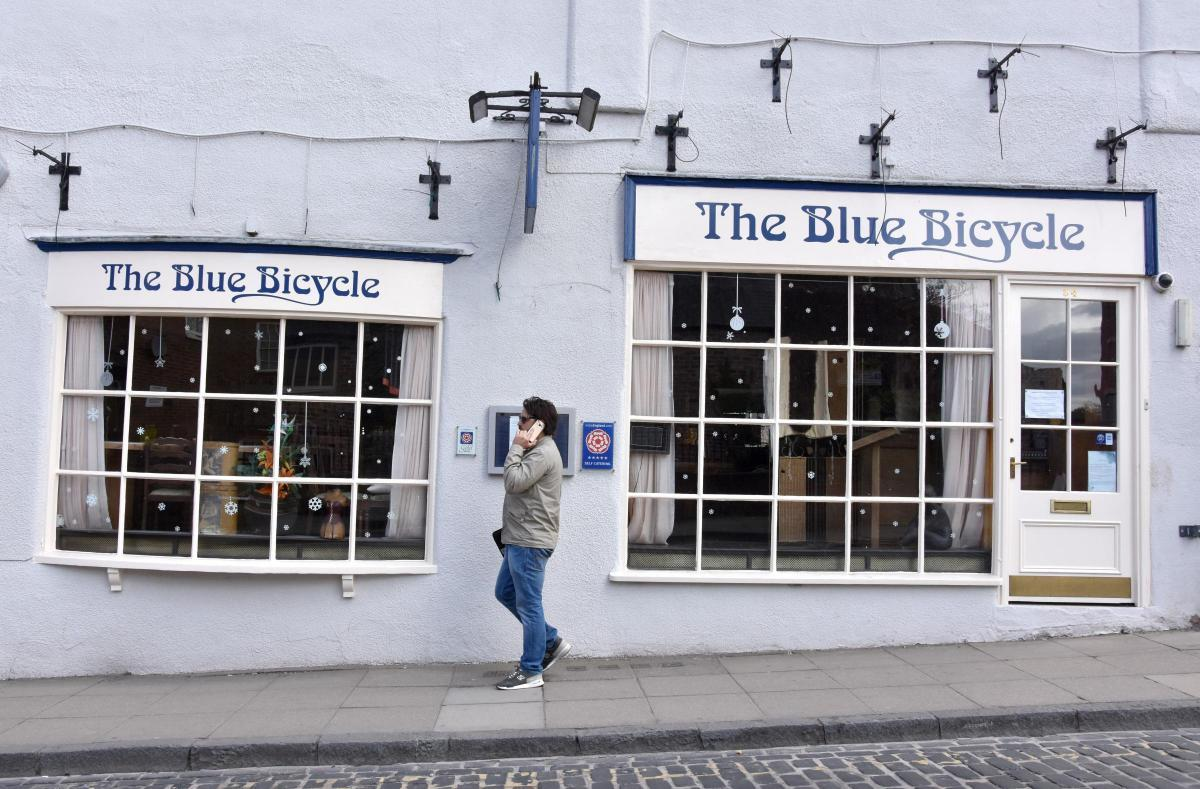 FLOODED: The Blue Bicycle in York.