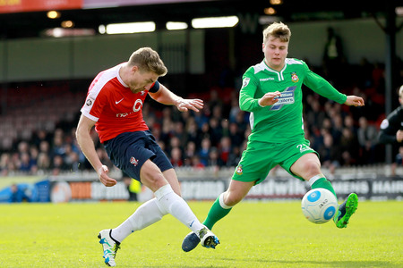 IN WITH A SHOT: Simon Heslop has a good chance of earning a York City recall against Stockport