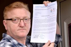 Simon (Sam) Proctor with a letter telling him he has won £750,000 in a âWorld Cup online lotteryâ â wants to warn others that this scam is doing the roundsâ¦Picture Frank Dwyer.