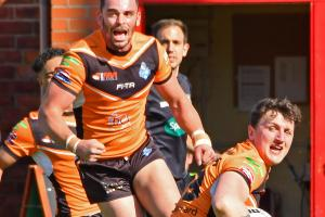 James Haynes can't believe it after seeing his hat-trick try controversially ruled out. Picture: David Harrison