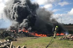 Tyre and rubbish fire at Carlton near Selby. Photo: @NorthYorksFire