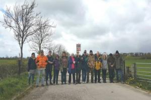 Anti-fracking protesters at the KMA well site