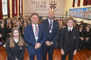 VISIT: Julian Sturdy, MP for Outer York with Matt Halifax, vice principal at Vale of York Academy with Year 10 students Holly Cairns and Sam Kirby
