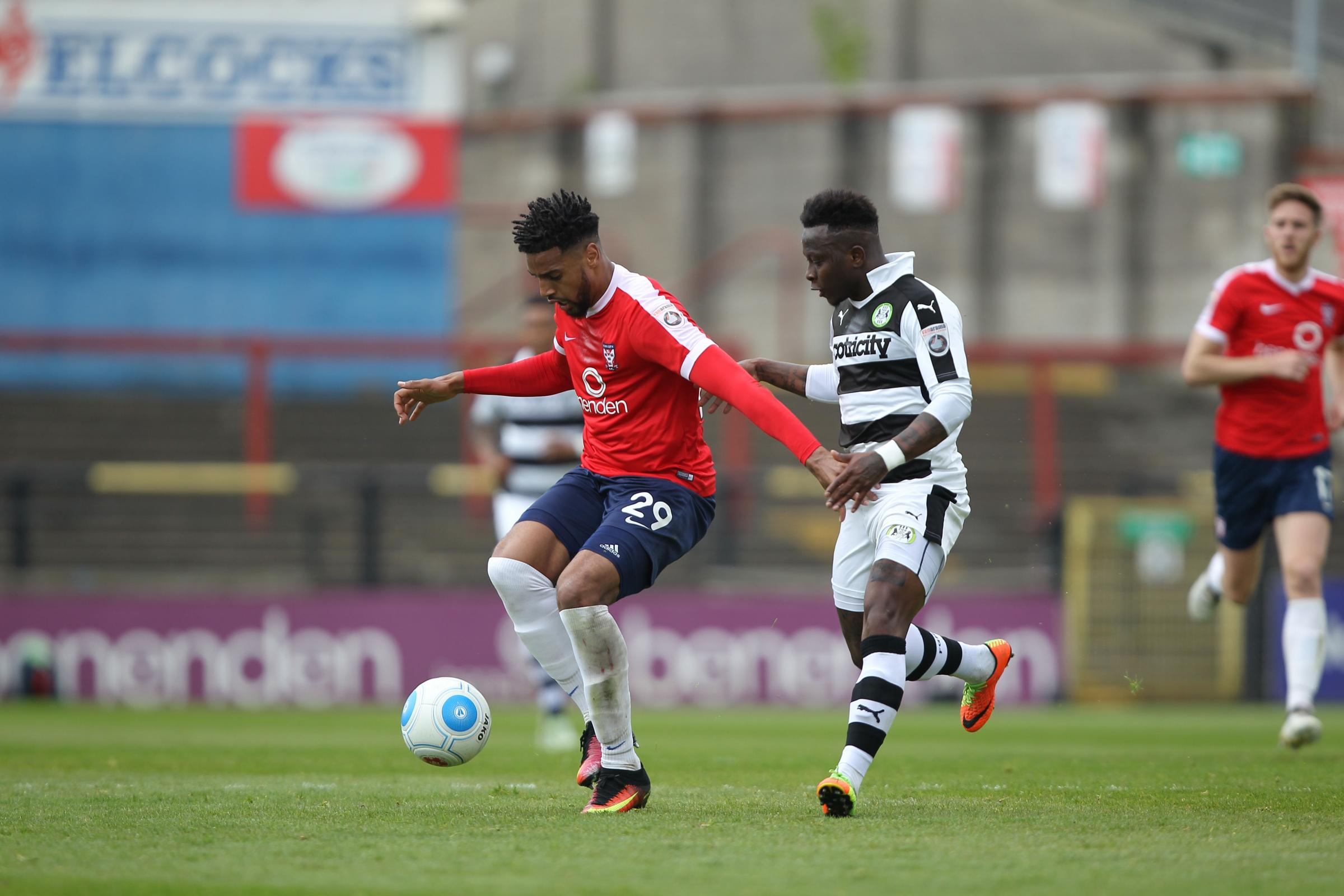 EYES DOWN: York City striker Vadaine Oliver looks to cause Forest Green problems. Picture: Gordon Clayton