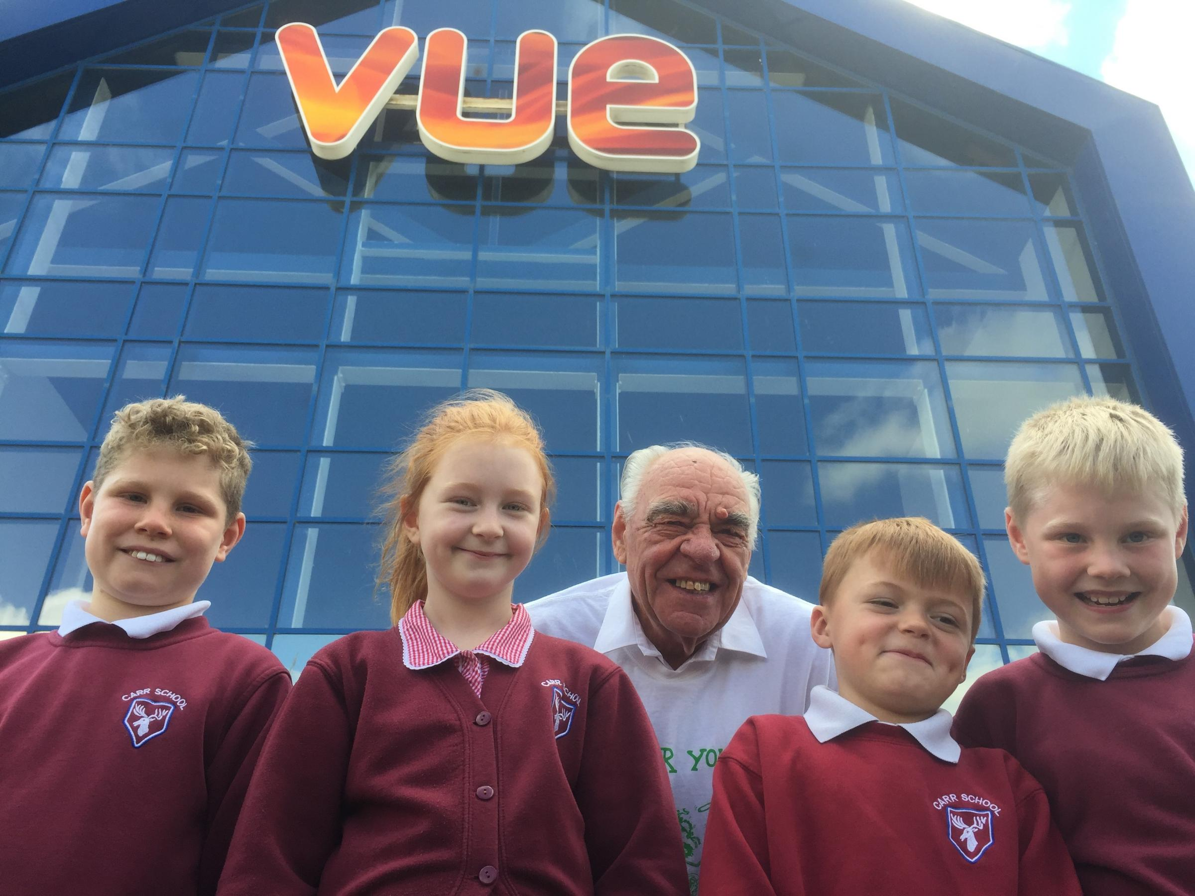 Carr Junior School pupils Sam Lawrence, left, Rosie Belton, Ryan Willetts and Tom Lawrence with Jim Dales, from The Secret Garden Project, at Vue, Clifton Moor, York