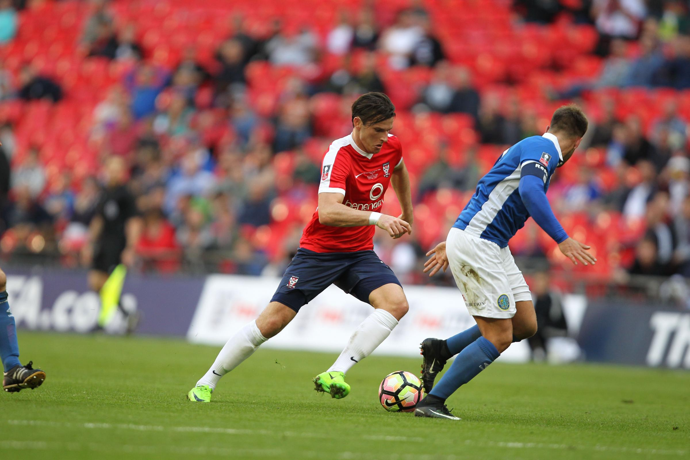 FORWARD MOMENTUM: York City midfielder Sean Newton takes the game to Macclesfield during the 3-2 win at Wembley. Picture: Gordon Clayton