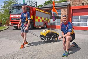 Marathon runners Terence Gregg, left, and Justin Rowe at Malton fire station getting in training for their 12 marathons Picture: Nigel Holland