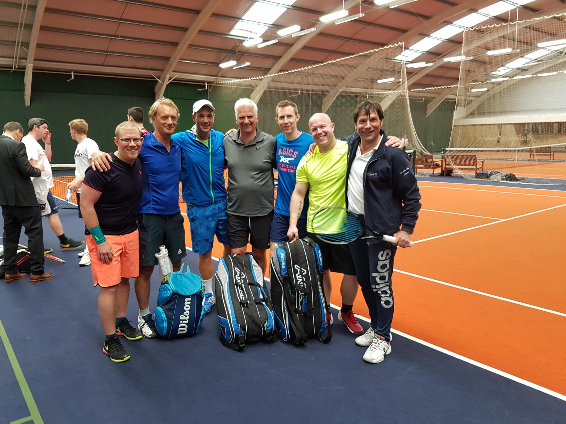 Bubwith's first team are pictured at a tennis festival in Leeds with ATP Tour player and Roger Federer's second round opponent at Wimbledon last year, Marcus Willis, third from left, and Wimbledon 2012 men's doubles champion Jonny Marray, third from rig