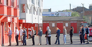 Fans queue for tickets at York City's current home, KitKat Crescent