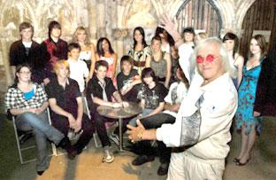Celebrity judge Jimmy Savile introduces the contestants in the Community Idol contest held at Selby Abbey