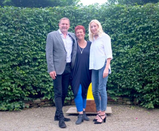 Sir Gary Verity, chief executive of Welcome To Yorkshire, with Cecile Creemers, middle, and Clare Nattress, curators of the 100 Artists, 11 Countries Summer Exhibition, at Kunsthuis Gallery, Dutch House, Crayke. Picture: Mat Waudby