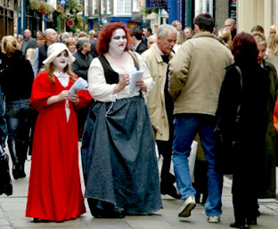 Rachel Lacy and Carol Harris hand out leaflets at a previous ghost festival.
