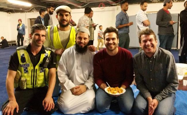 Pictured are, from left, PC Ben Pepper, Aimal Zaki, Imam of York Mosque Abid Salik, Nick Miller and David Miller