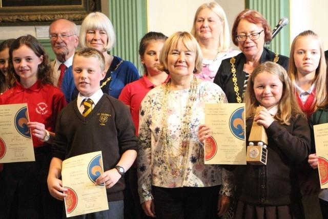 The Lord Mayor presenting certificates at the YCT Primary Public Speaking Competition