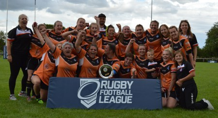 York City Knights Ladies with the Women's RL Shield after being against the Army Ladies in the final at Heworth.