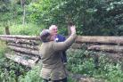 Floods Minister Thérèse Coffey visiting Cropton Forest to see some of the natural flood management work carried out