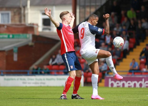 York Press: HANDY OPPORTUNITY: York City stalwart Dan Parslow is hoping that this evening's trip to Blyth Spartans will offer a great chance to bounce back from the disappointment of Saturday's opening-day home defeat to Telford. Pictures: Gordon Clayton