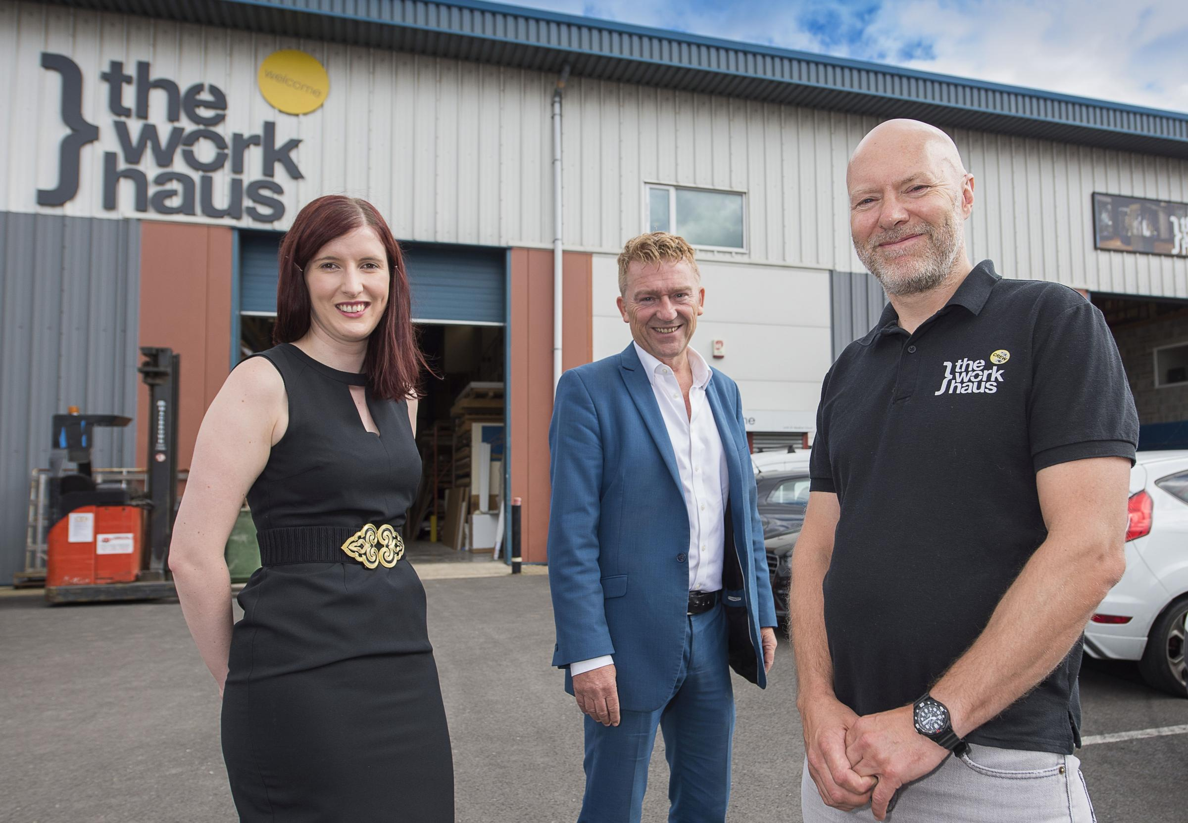 Workhaus MD Jim Ibbetson (right) with Garbutt + Elliott's Simon Palmer and Angela Mikola