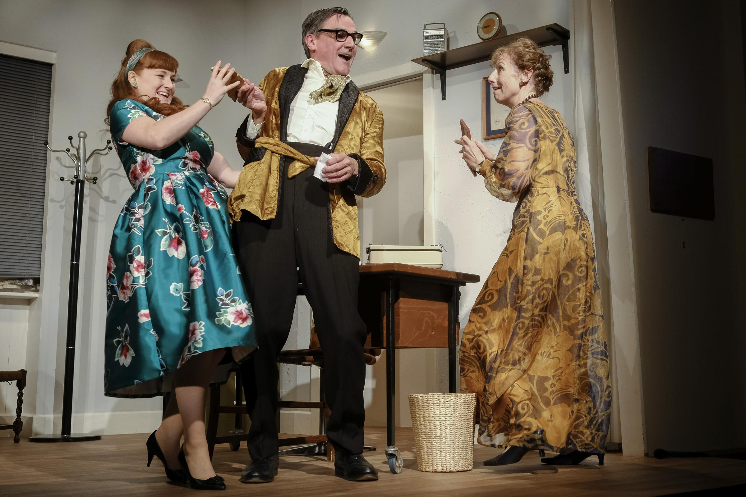 Hayley Doherty, as Maeve, left, Jonathan Pembroke, as Larkin, and Georgina Sutton, as Betty, in Larkin With Women. Picture: Tony Bartholomew