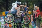 A bike stunt rider at the Festival of Cycling in Rowntree Park in 2014. Photo: Mike Tipping.