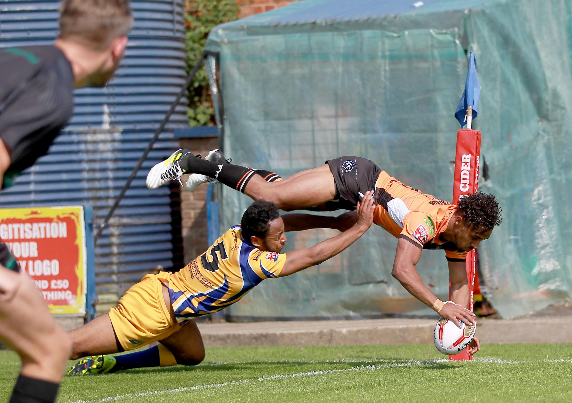 TREBLE YELL: Hemel Stags' Darren Forde can't stop York City Knights winger Dee Foggin-Johnston from spectacularly scoring in the corner for his second hat-trick in consecutive matches last month. Picture: Gordon Clayton