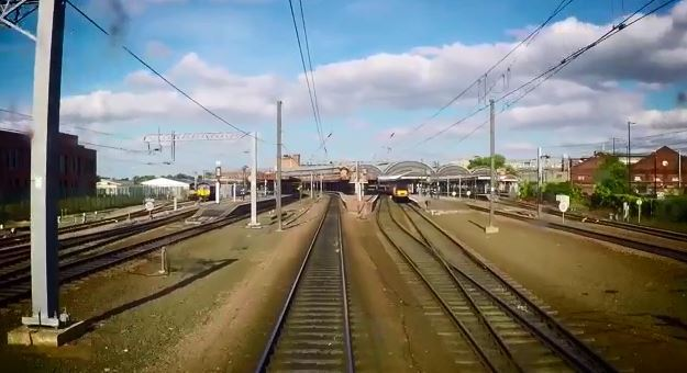 Train lines approaching York station