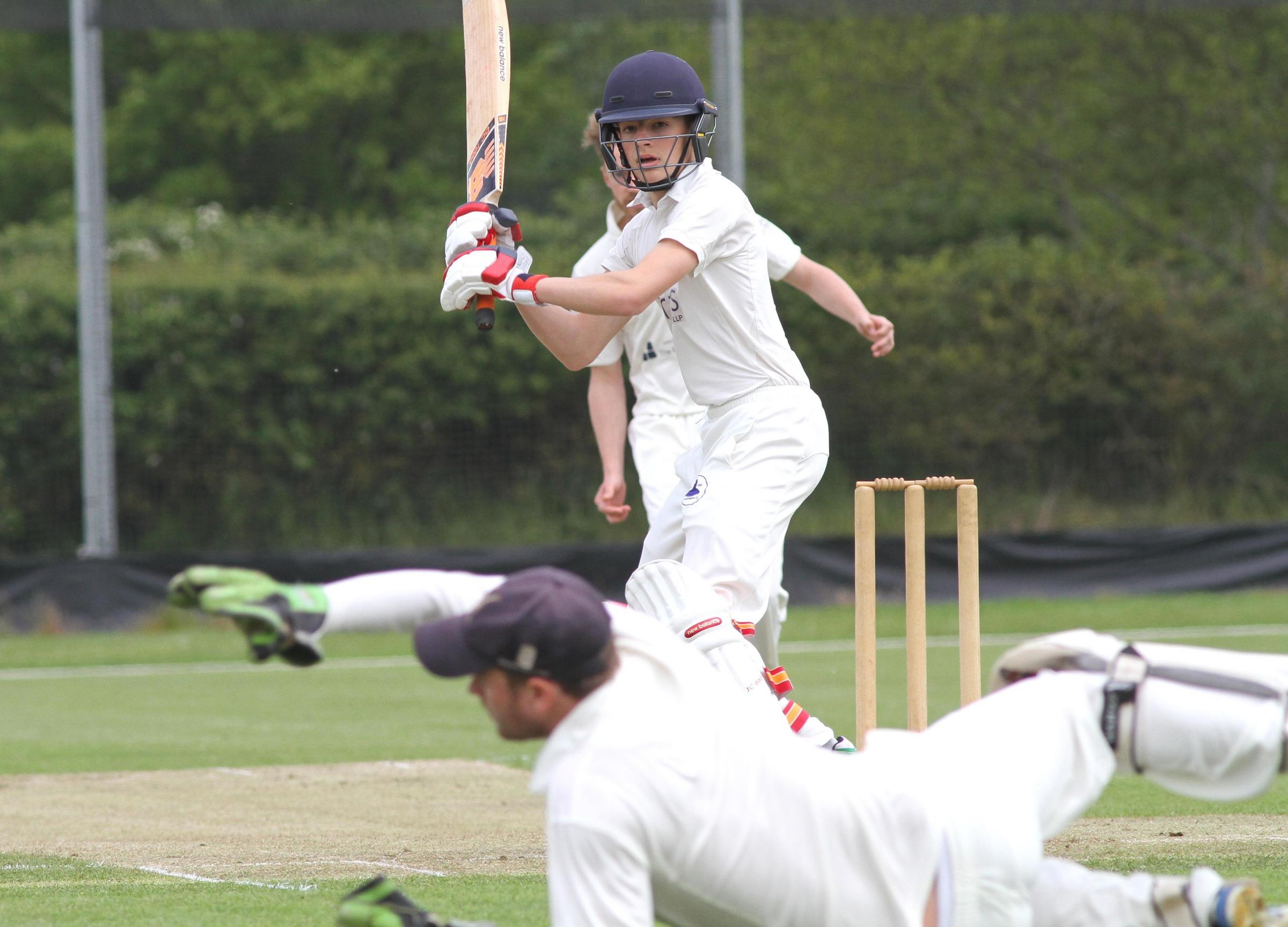RUN OUT: Dunnington's Harrison Mussell, who was run out for 26 as Dunnington Academy were unable to end Bubwith's winning start to the Foss Evening League division one season